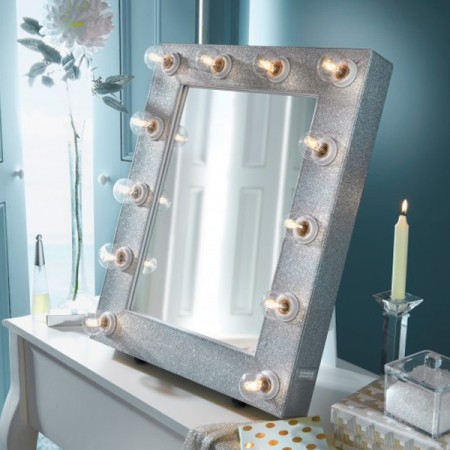 Starlight Large Broadway/Hollywood Mirror - Glitter Silver